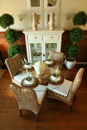 eating area: A eating area of the kitchen in an upscale home