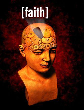 A psychology model highlighting the faith area of the brain Stock Photo - 755847