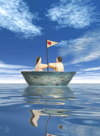 devoted: A devoted couple in a sailboat with a heart flag Stock Photo