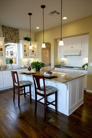 contemporary: A Nice kitchen interior inside an upscale home Stock Photo