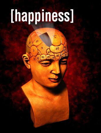 Een model van de psychologie de geluk deel van de hersenen van markeren