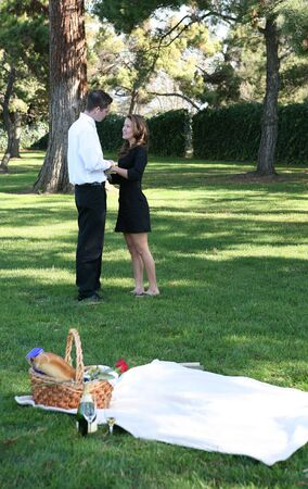 An attractive couple having a picnic in the park photo