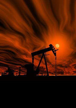 An industrial oil pump under a hot sky