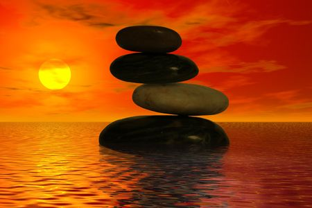 balanced rocks: Four balanced rocks in the ocean with a beautiful sunset