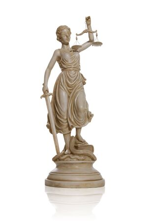 justness: A lady justice statue isolated over white