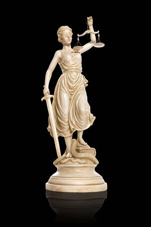 judiciary: A lady justice statue isolated over white