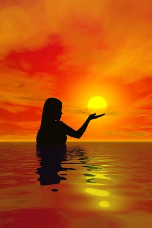A woman in the ocean holding the sun