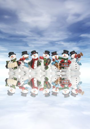 A group of snowmen playing music in the snow photo