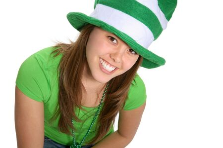 A pretty woman dressed in green for saint patricks day celebration photo