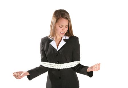 tied hair: Una donna d'affari ad essere frustrato legate con corda  Archivio Fotografico