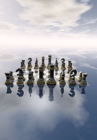 A 3D chess board rendering in the clouds photo