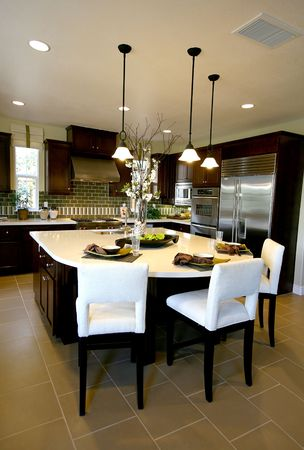 lamp light: A kitchen interior inside an upscale home