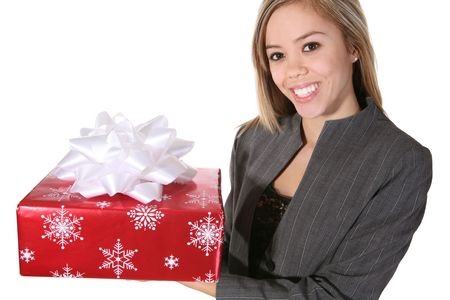 A pretty woman presenting a gift to a co-worker Stock Photo - 804700