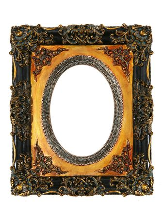 emptiness: An old antique vintage picture frame isolated over white