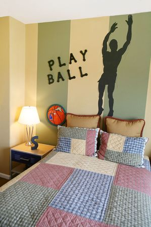 lamp shade: A sports bedroom with a basketball theme