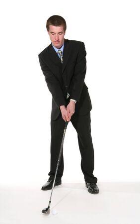 teen golf: Un apuesto joven hombre de negocios de golf m�s blanco  Foto de archivo