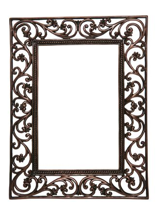 vintage photo: A brass wire picture frame isolated over white (Natural Rough Edges)