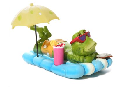 A funny frog relaxing under an umbrella while on vacation photo