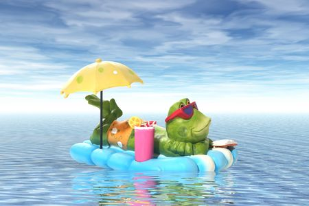 A frog relaxing on a raft in the middle of the ocean photo