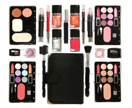 A colorful make-up kit isolated over white photo