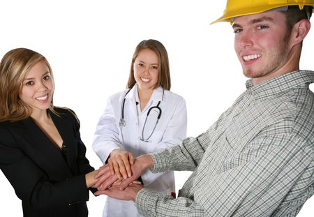 A pretty nurse, handsome construction worker, and attractive business woman photo