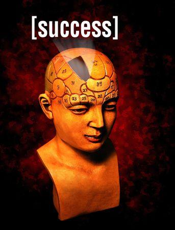 determines: Un modello di psicologia mettendo in evidenza la sezione del cervello che determina il successo  Archivio Fotografico
