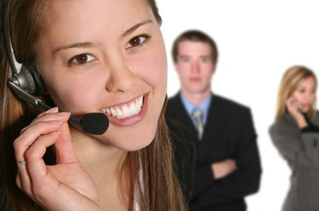A pretty customer service woman taking sales over the phone