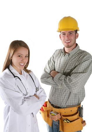 A handsome construction worker and a pretty nurse isolated over white photo