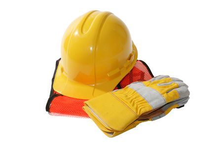 A construction hat, gloves and vest isolated over white Stock Photo - 908751