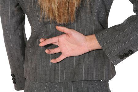 distort: Una mujer de negocios mentir y cruce sus dedos detr�s de su espalda