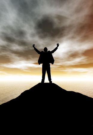 A business man celebrating his success atop a mountain at sunset photo