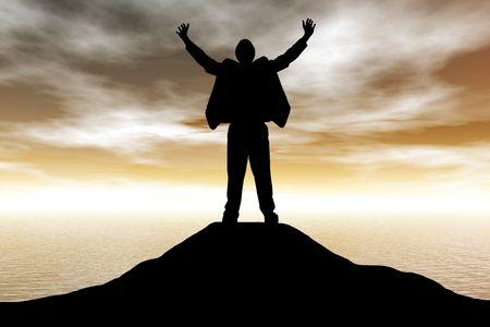 atop: A business man celebrating his success atop a mountain at sunset Stock Photo