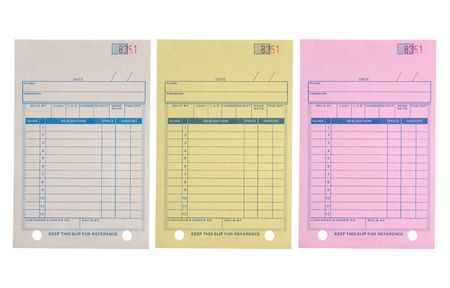 descriptions: A sales purchase receipt with three different color copies