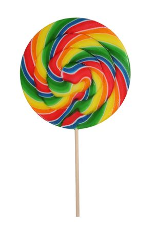 A colorful rainbow flavored lollipop isolated over white Фото со стока