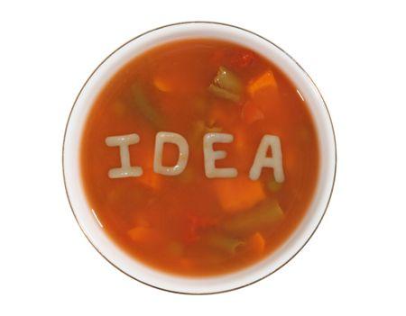 ipotesi: Alfabeto minestra con la parola idea digitato in tagliatelle  Archivio Fotografico