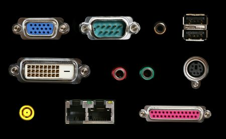 connectors: Several different colorful computer connectors for different media
