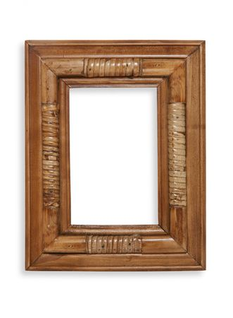 old furniture: A decorative bamboo photo frame over white