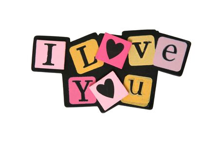 A colorful I Love You sign isolated over white