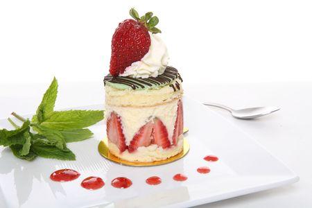 ambrosia: A delicious strawberry dessert cake on a white background