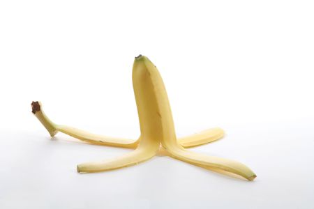 A banana peel over a white background photo