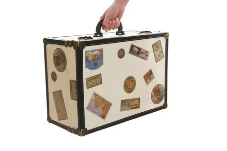 antique suitcase: An old retro antique suitcase over white