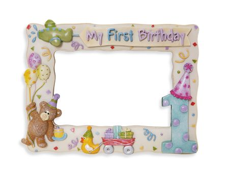A colorful first birthday picture frame over white photo