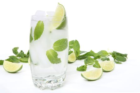 mohito: A mohito alcoholic drink over a white background Stock Photo