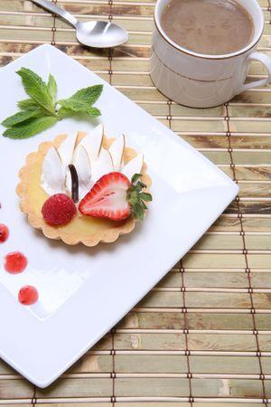 ambrosia: A delicious lemon dessert tart with coffee