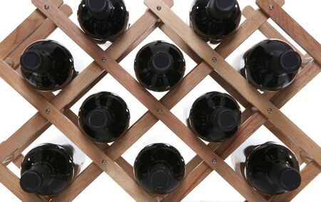 A wine rack holding several filled bottles of wine Stock Photo - 1148695