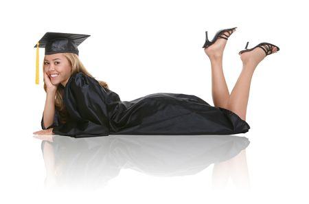 A beautiful woman  graduate laying on a white background Stock Photo - 1158886