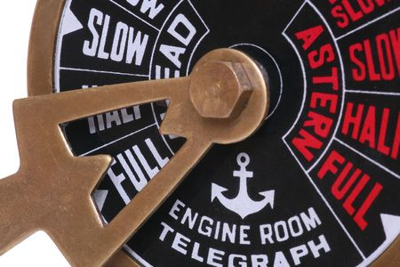 engine room: A ships telegraph on full speed ahead