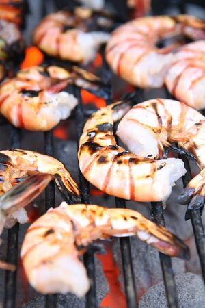 ready to eat: Delicious looking shrimp on the grill ready to eat