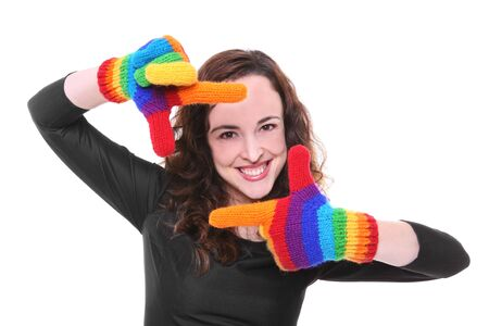 A pretty happy woman with rainbow colored gloves Stock Photo - 1254237