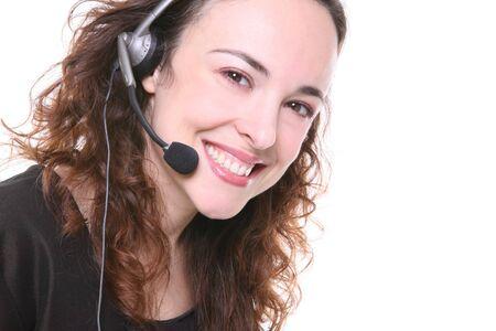 A pretty customer service woman with headphone Stock Photo - 1254227